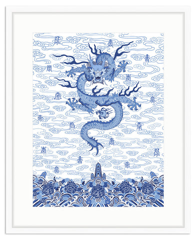 Framed Chinese Imperial Dragon Robe in Blue and White Irvine Slim / 8x10 (14x16.5),  - The Pink Pagoda, The Pink Pagoda  - 1