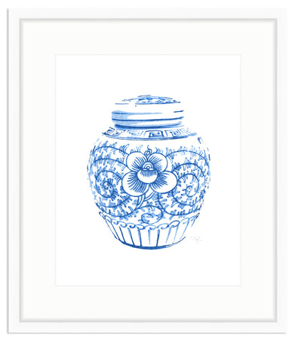 Framed Blue & White Lotus and Vine Jar Print Irvine Slim / 8x10 (15x17),  - The Pink Pagoda, The Pink Pagoda  - 1