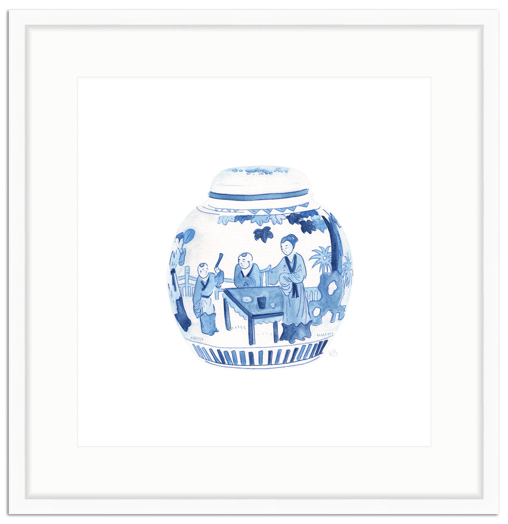 Framed Blue And White Watercolor Chinese Melon Jar Art