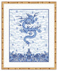 Framed Chinese Imperial Dragon Robe in Blue and White Mandalay (Blue Accent Mat) / 8x10 (14x16.5),  - The Pink Pagoda, The Pink Pagoda  - 6