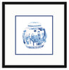 Framed Blue and White Watercolor Chinese Melon Jar Mercer Slim (with Accent Mat) / 8x8 (14x14),  - The Pink Pagoda, The Pink Pagoda  - 7