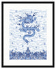 Framed Chinese Imperial Dragon Robe in Blue and White Mercer Slim / 8x10 (14x16.5),  - The Pink Pagoda, The Pink Pagoda  - 3