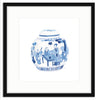 Framed Blue and White Watercolor Chinese Melon Jar Mercer Slim / 8x8 (14x14),  - The Pink Pagoda, The Pink Pagoda  - 8
