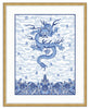 Framed Chinese Imperial Dragon Robe in Blue and White Olympia (Blue Accent Mat) / 8x10 (14x16.5),  - The Pink Pagoda, The Pink Pagoda  - 8