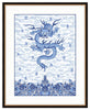 Framed Chinese Imperial Dragon Robe in Blue and White Providence (Blue Accent Mat) / 8x10 (14x16.5),  - The Pink Pagoda, The Pink Pagoda  - 10