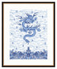 Framed Chinese Imperial Dragon Robe in Blue and White Providence / 8x10 (14x16.5),  - The Pink Pagoda, The Pink Pagoda  - 9