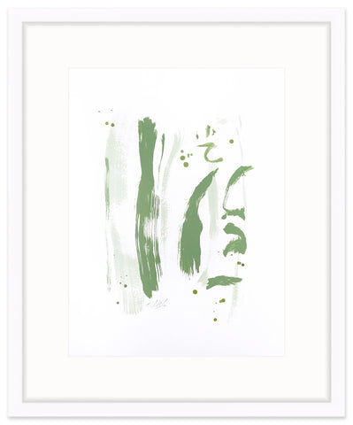 """Convergence"" Series painting on paper in greens by Christina Baker"