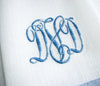 Monogrammed Linen Guest Towels Pair in Blue , Linen - NF, The Pink Pagoda  - 2