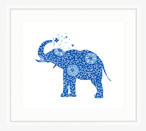 Framed Happy Blue Elephant Print