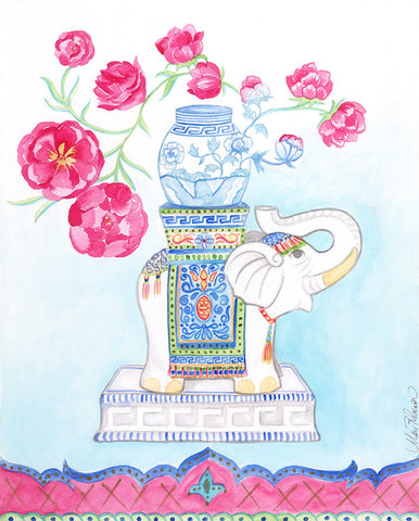 Indian Elephant in Blue Dress (facing right) , Art Print - MR, The Pink Pagoda