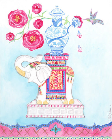 Indian Elephant in Pink Dress (facing left) , Art Print - MR, The Pink Pagoda