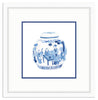 Framed Blue and White Watercolor Chinese Melon Jar Irvine Slim (with Accent Mat) / 8x8 (14x14),  - The Pink Pagoda, The Pink Pagoda  - 2