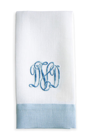Monogrammed Linen Guest Towels Pair in Blue , Linen - NF, The Pink Pagoda  - 1
