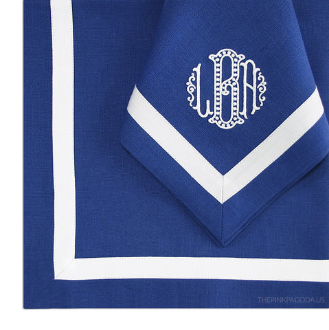 Irish Linen Placemat and Monogrammed Dinner Napkin Set with Taped Border