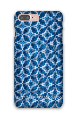 Blue and White Needlepoint Phone Case