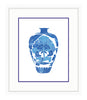 Framed Blue and White Chinese Peony Vase