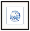 Framed Blue and White Watercolor Chinese Melon Jar Providence (with Accent Mat) / 8x8 (14x14),  - The Pink Pagoda, The Pink Pagoda  - 4