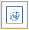 Framed Blue and White Watercolor Chinese Melon Jar Richmond (with Accent Mat) / 8x8 (14x14),  - The Pink Pagoda, The Pink Pagoda  - 5