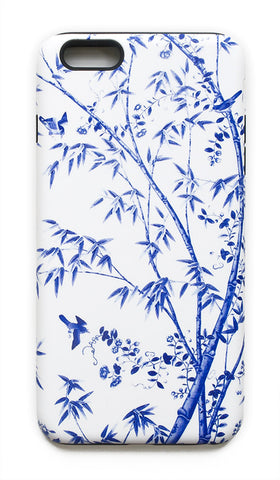 Chinoiserie Floral, Birds, and Bamboo in Blue and White iPhone Case , Phone Case - TPPPC, The Pink Pagoda