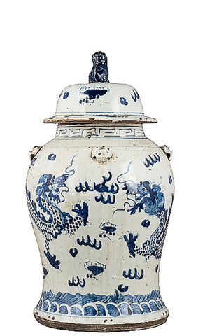 Blue and White Dragon Ginger Jar , Ceramic - OD, The Pink Pagoda