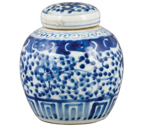 Blue and White Melon Jar With Flower and Vine Motif , Ceramic - OD, The Pink Pagoda