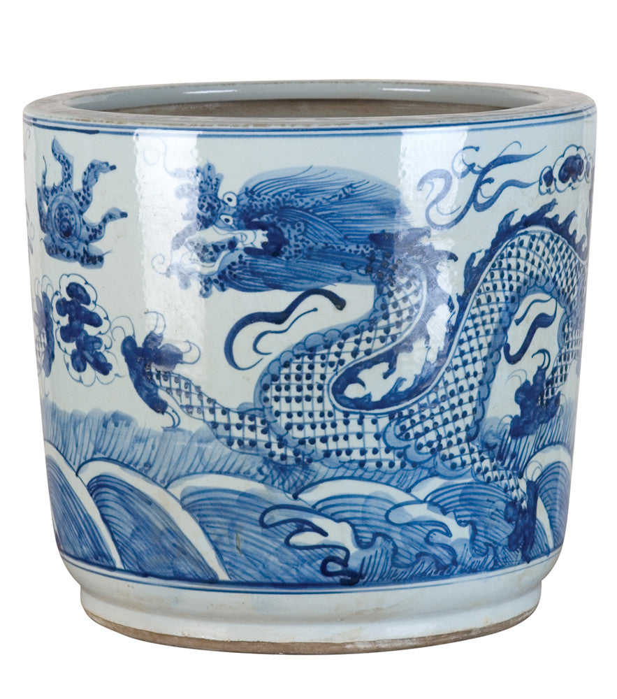 Blue And White Chinese Porcelain Dragon Planter The Pink
