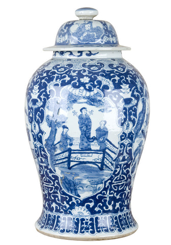 Blue and White Chinese Temple Jar with Figures , Ceramic - OD, The Pink Pagoda
