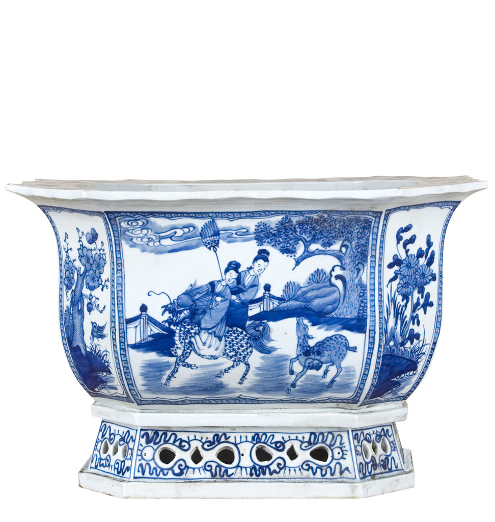 Blue And White Octagonal Planter At The Pink Pagoda