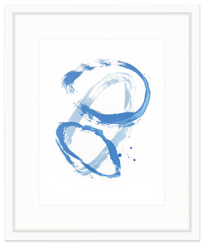"""Convergence"" Series painting on paper in blues by Christina Baker"