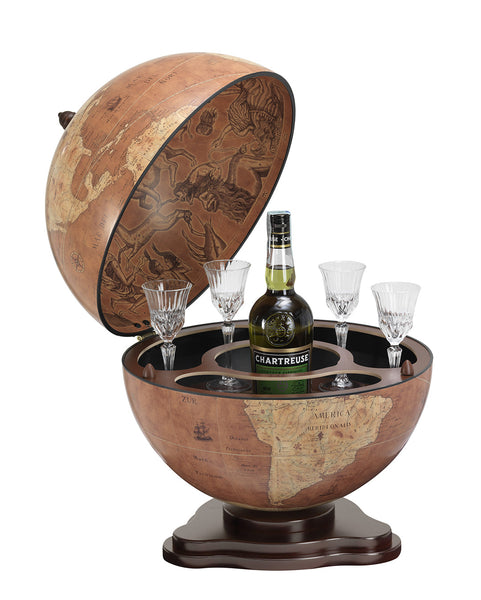 "MPR - ""Galileo"" Classic Desk Globe Drinks Cabinet - Rust - My Parlor Room"