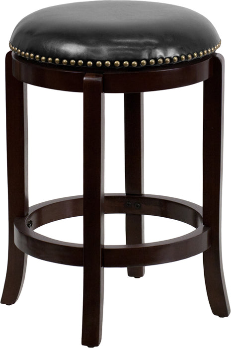 24'' High Backless Cappuccino Wood Counter Height Stool With Black Leather Swivel Seat - My Parlor Room