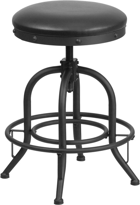 24'' Counter Height Stool With Swivel Lift Black Leather Seat - My Parlor Room