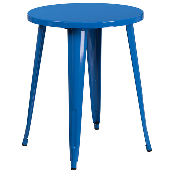 FF - 24'' Round Blue Metal Indoor-outdoor Table - My Parlor Room