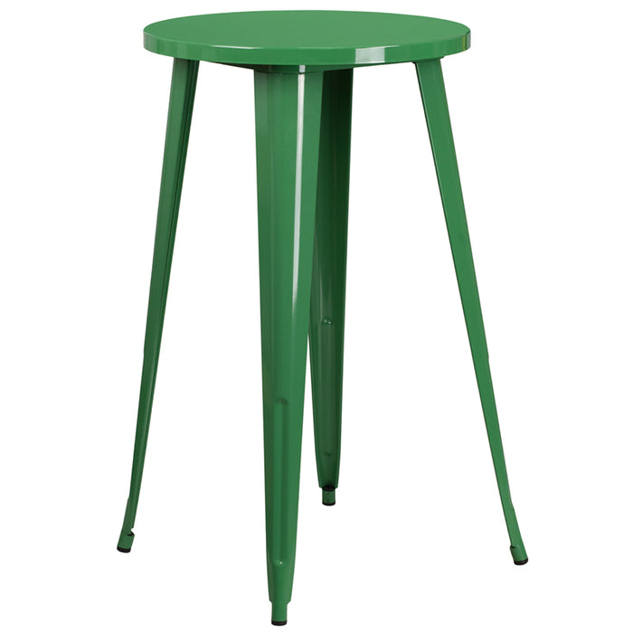 24'' Round Green Metal Indoor-outdoor Bar Height Table - My Parlor Room