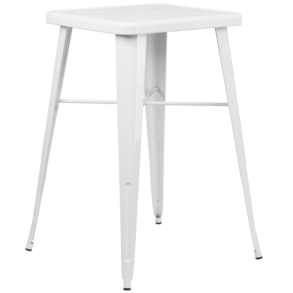 FF - 23.75'' Square White Metal Indoor-outdoor Bar Height Table - My Parlor Room