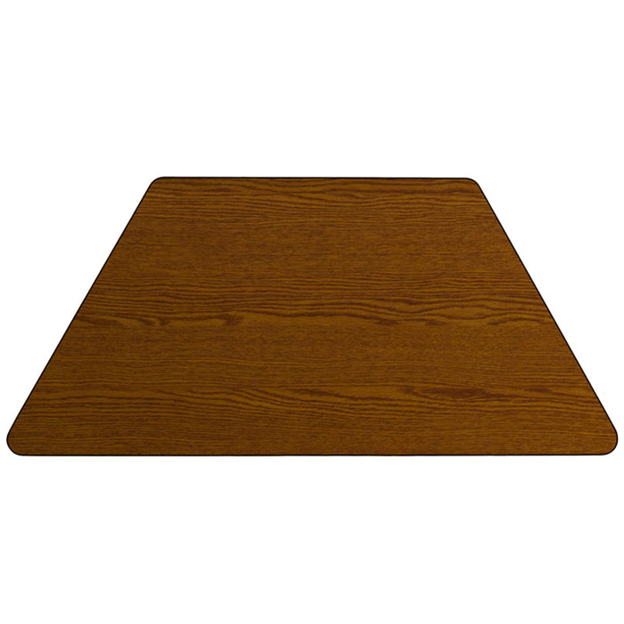 30''w X 60''l Trapezoid Oak Hp Laminate Activity Table - Adjustable Legs