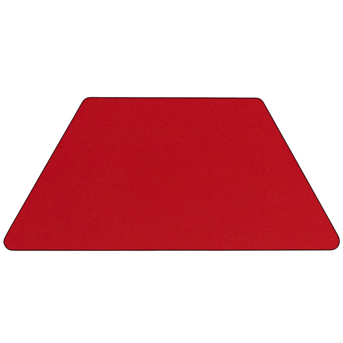 25.5''w X 46.25''l Trapezoid Red Hp Laminate Activity Table - Adjustable Legs