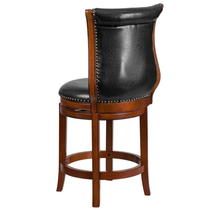 30'' High Brandy Wood Barstool With Black Leather Swivel Seat - My Parlor Room