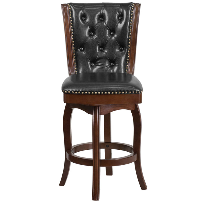 30'' High Cappuccino Wood Barstool With Black Leather Swivel Seat - My Parlor Room