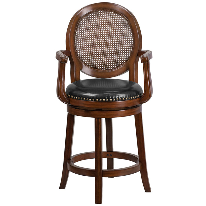 30'' High Expresso Wood Barstool With Arms And Black Leather Swivel Seat