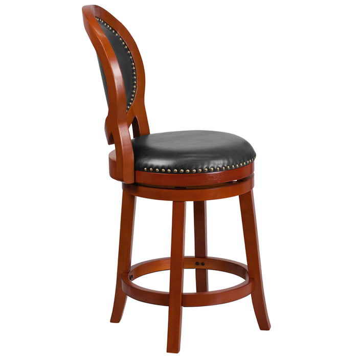 26'' High Light Cherry Counter Height Wood Stool With Walnut Leather Swivel Seat