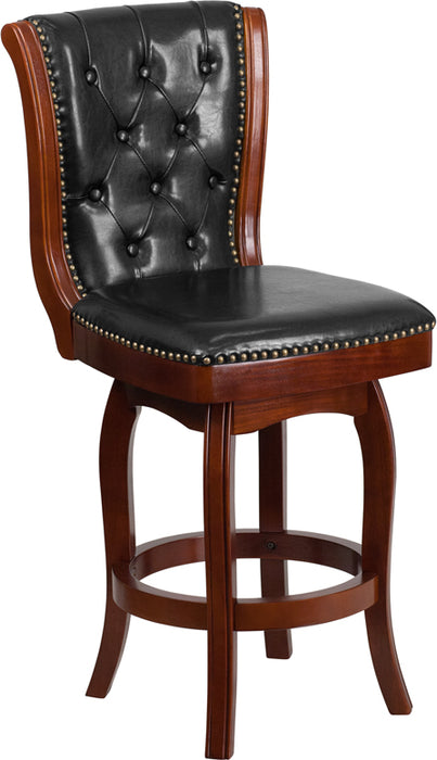26'' High Cherry Wood Counter Height Stool With Black Leather Swivel Seat - My Parlor Room