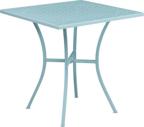 FF - 28'' Square Sky Blue Indoor-outdoor Steel Patio Table - My Parlor Room