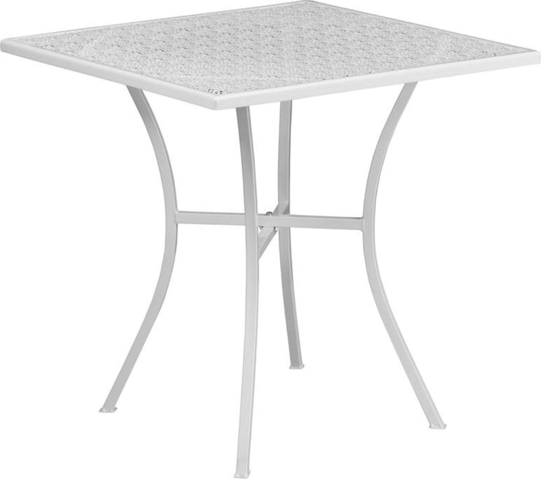28'' Square White Indoor-outdoor Steel Patio Table - My Parlor Room