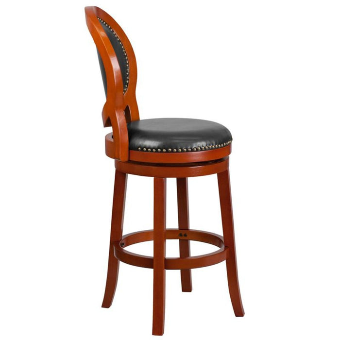 30'' High Light Cherry Wood Barstool With Walnut Leather Swivel Seat - My Parlor Room