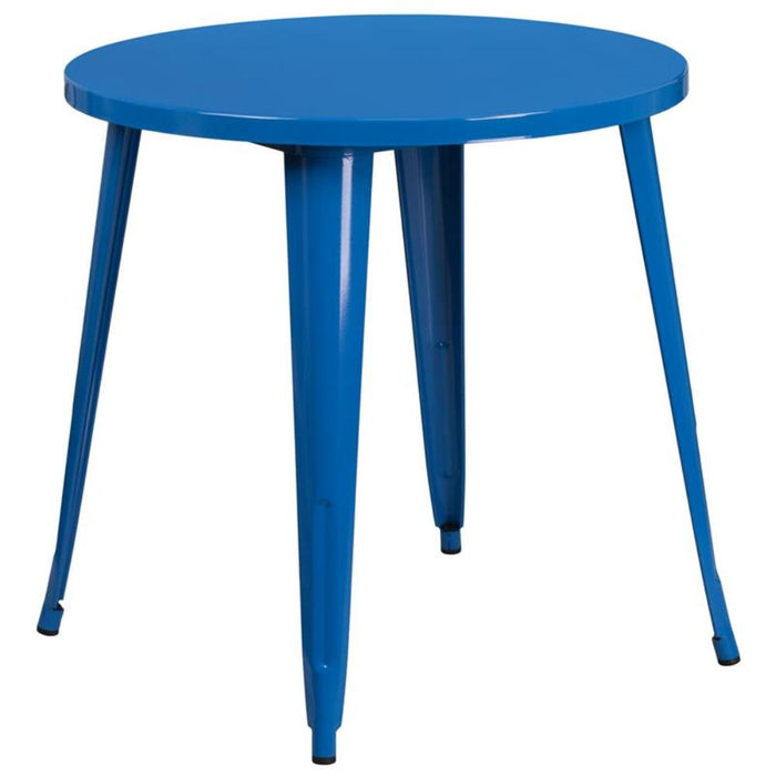 30'' Round Blue Metal Indoor-outdoor Table - My Parlor Room