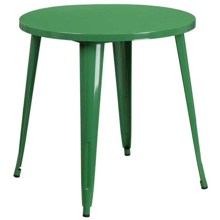 30'' Round Green Metal Indoor-outdoor Table
