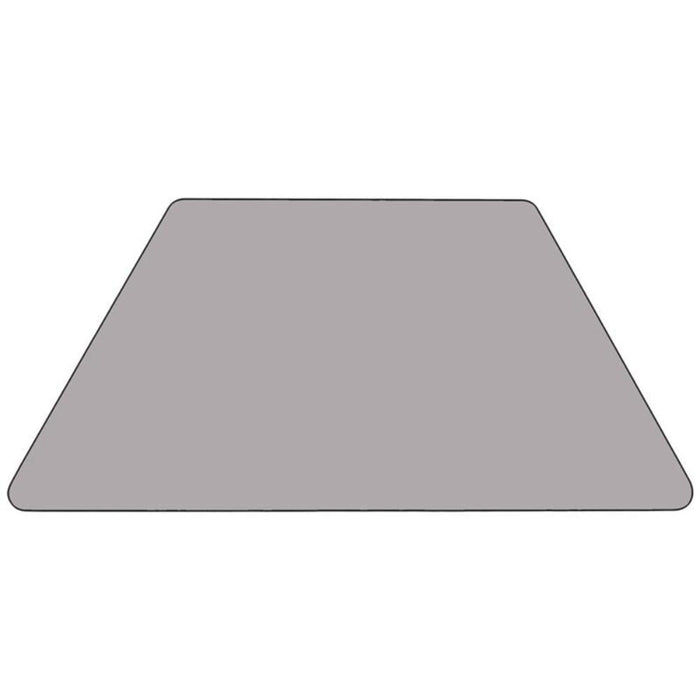 30''w X 60''l Trapezoid Grey Thermal Laminate Activity Table - Standard Height Adjustable Legs