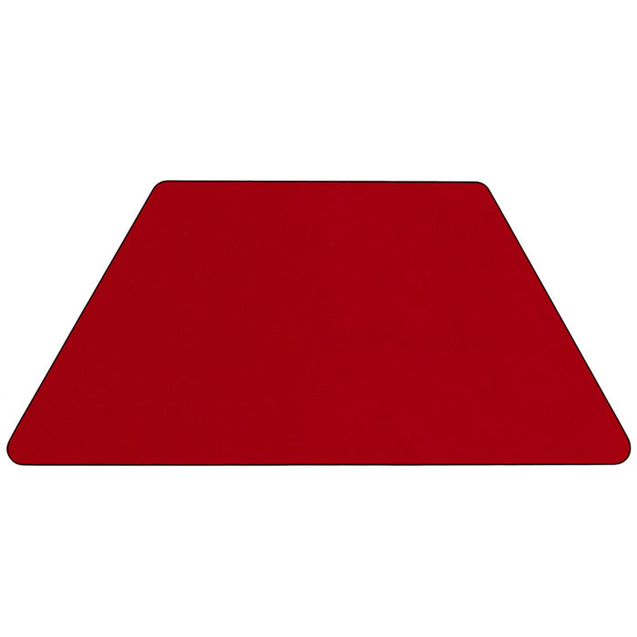 30''w X 60''l Trapezoid Red Thermal Laminate Activity Table -Adjustable Legs - My Parlor Room