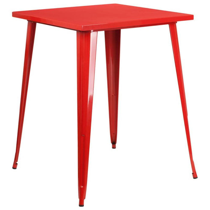 31.5'' Square Red Metal Indoor-outdoor Bar Height Table - My Parlor Room